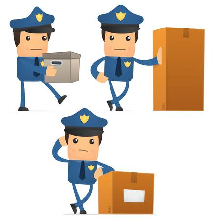 set of funny cartoon policeman Stock Vector - 11250923