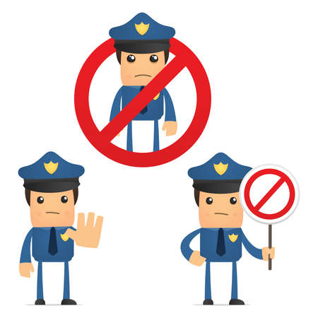 alertas: conjunto de polic�a divertidos dibujos animados