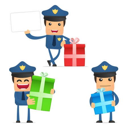 police hat: set of funny cartoon policeman