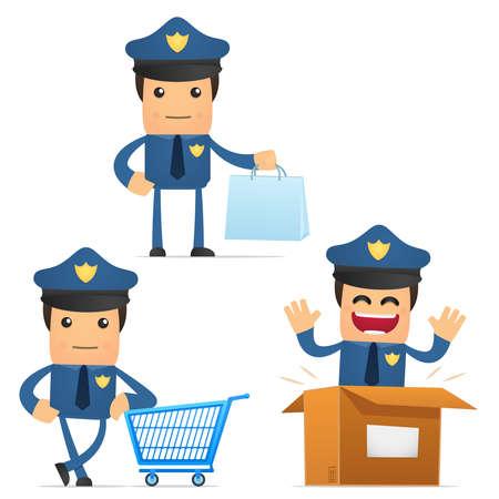 internet safety: set of funny cartoon policeman