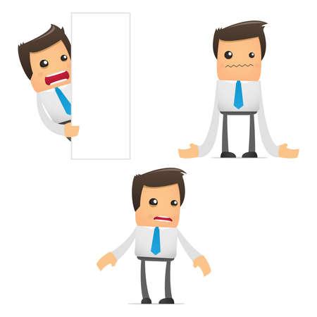 empresario triste: conjunto de gerente de divertidos dibujos animados