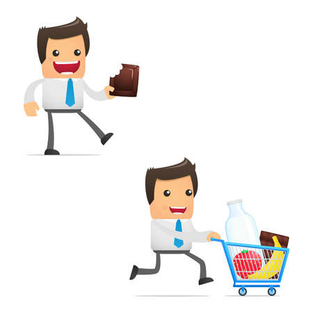 purchasing manager: set of funny cartoon manager