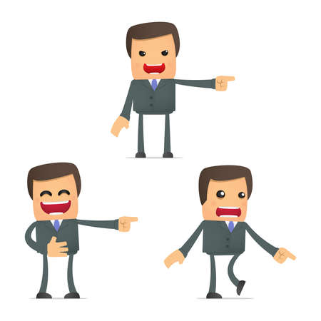 set of funny cartoon businessman Vector