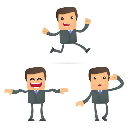 set of funny cartoon businessman Stock Vector - 11412128