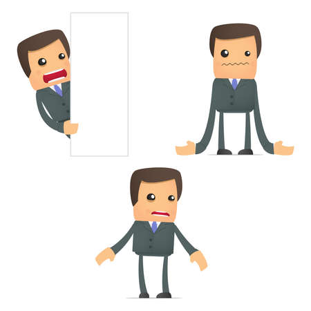 unhappy worker: set of funny cartoon businessman