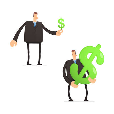 banker: set of funny cartoon businessman