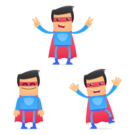 set of funny cartoon superhero Stock Vector - 11651479