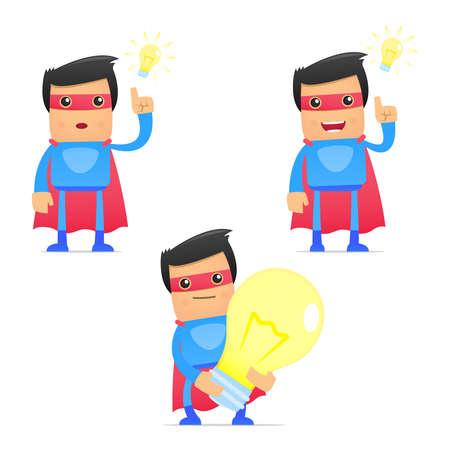 happiness or success: set of funny cartoon superhero