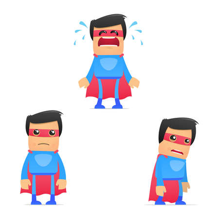 monotony: set of funny cartoon superhero