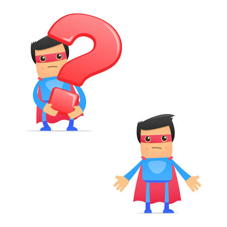 asking question: set of funny cartoon superhero