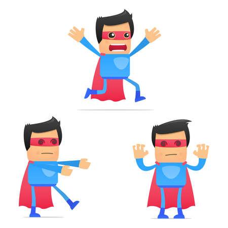 unintelligent: set of funny cartoon superhero