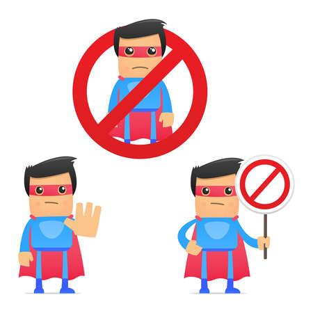 set van grappige cartoon superhero