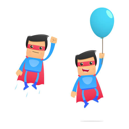 inflar: conjunto de superh�roe de dibujos animados divertidos