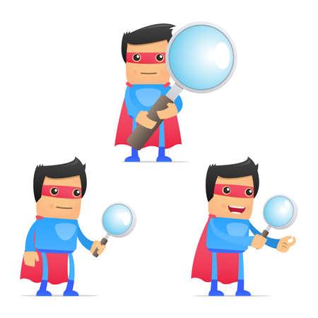 lense: set of funny cartoon superhero
