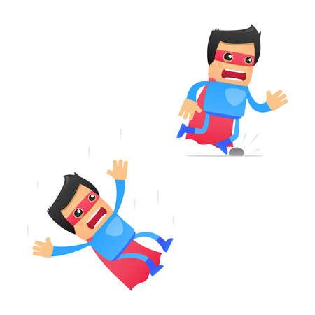 subsidence: set of funny cartoon superhero