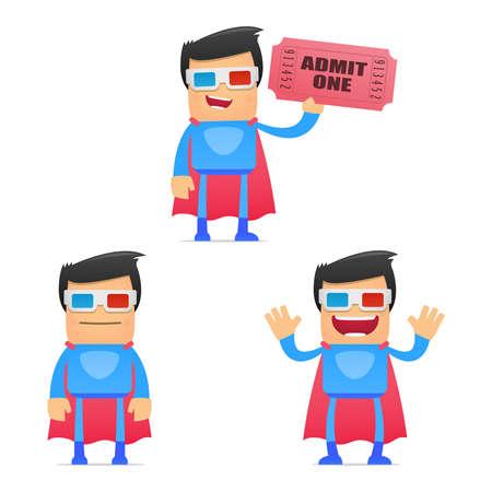 3dtv: set of funny cartoon superhero