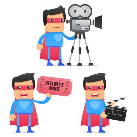 cameraman: set of funny cartoon superhero
