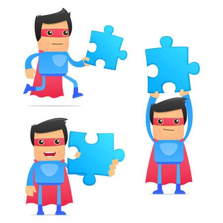 organised group: set of funny cartoon superhero