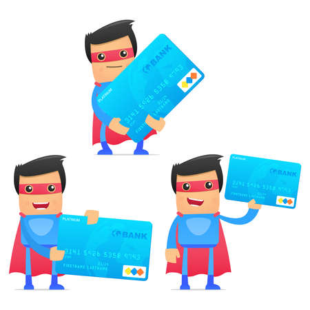credit card debt: set of funny cartoon superhero