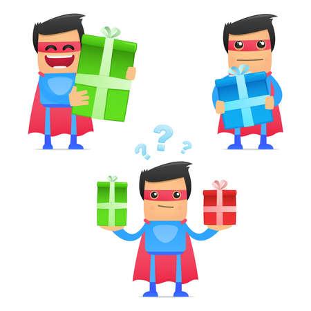 superhuman: set of funny cartoon superhero