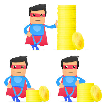valuta: set of funny cartoon superhero