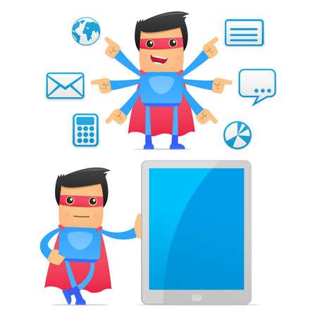 electronic organizer: set of funny cartoon superhero