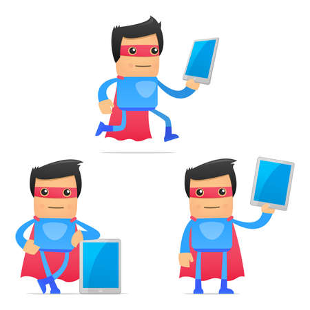 set of funny cartoon superhero Vector Illustration