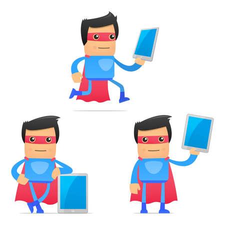 mobil: set van grappige cartoon superheld