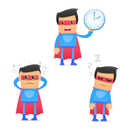 snooze: set of funny cartoon superhero