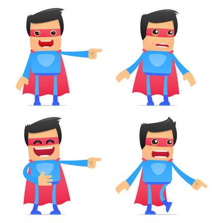 scare: set of funny cartoon superhero