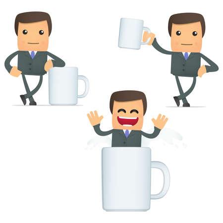 boss cartoon: set of funny cartoon businessman