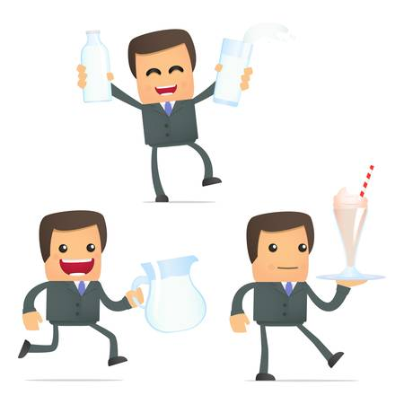 organic fluid: set of funny cartoon businessman