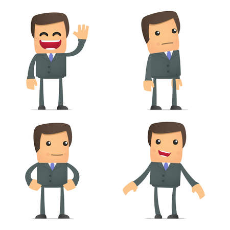 character set: set of funny cartoon businessman