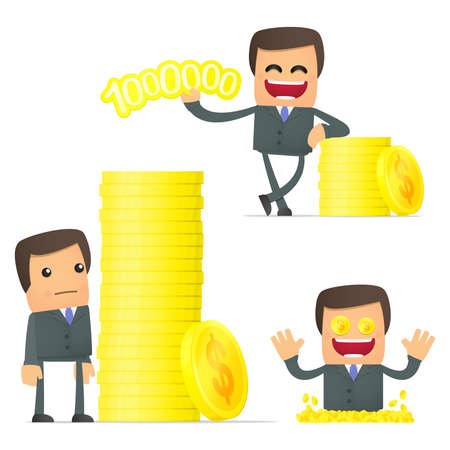 valuta: set of funny cartoon businessman