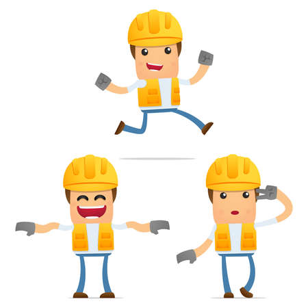 worker cartoon: conjunto de constructor de divertidos dibujos animados
