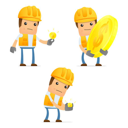 construction worker cartoon: set of funny cartoon builder Illustration