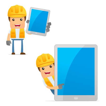 hardhat icon: set of funny cartoon builder Stock Photo