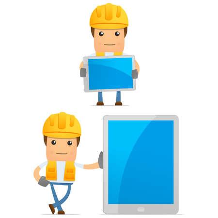 mobil phone: set of funny cartoon builder Stock Photo