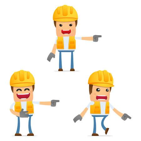 cartoon builder: set of funny cartoon builder Stock Photo