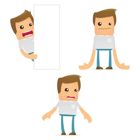 angry teenager: set of funny cartoon casual man