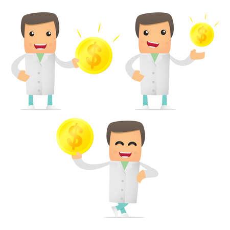 doctor exam: set of funny cartoon doctor