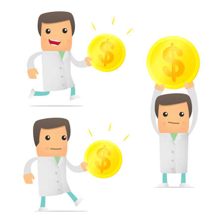 financial emergency: set of funny cartoon doctor