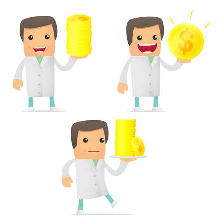 set of funny cartoon doctor Stock Vector - 11807915
