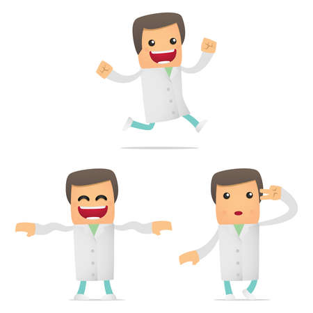 set of funny cartoon doctor Stock Vector - 11807854