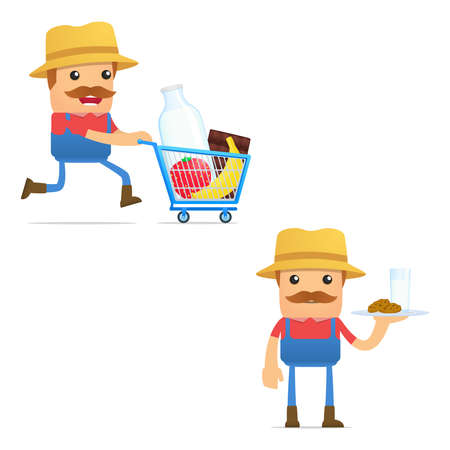 organic fluid: set of funny cartoon farmer