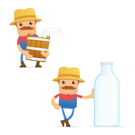 set of funny cartoon farmer Stock Vector - 11807983