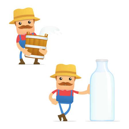 set of funny cartoon farmer Stock Vector - 11807983