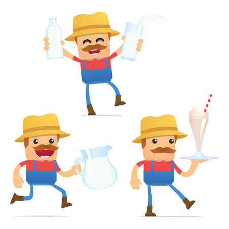set of funny cartoon farmer Stock Vector - 11807950