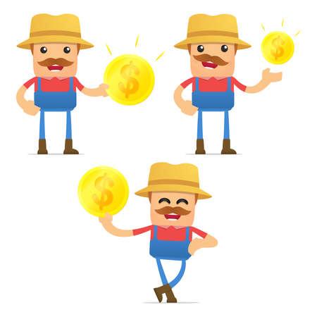 agriculturist: set of funny cartoon farmer