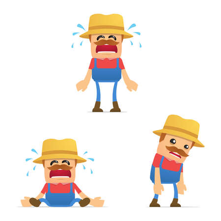 upset man: set of funny cartoon farmer